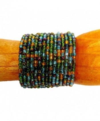 "2"" Wide Peacock Color Handmade Beaded Cuff Bracelet Bali Bay Trading Company - C712GVYOLA9"