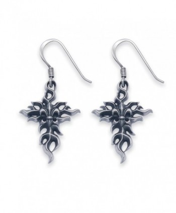 Sterling Silver Fleur De Lis Flaming Cross French Wire Earrings - CQ119RT83P1