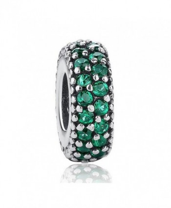 Inspiration Within with Fancy CZ Spacer 925 Sterling Silver Bead Fits European Charm Bracelet - Green - CQ12JICS0H7