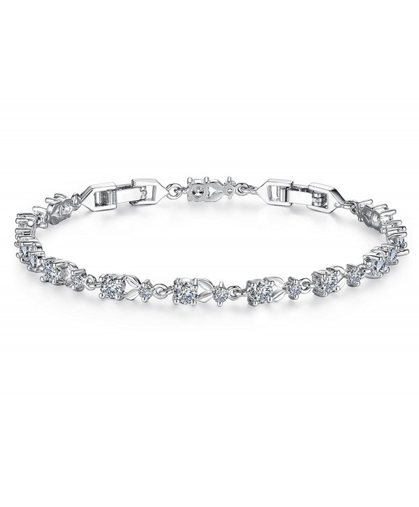 Tennis Bracelet Women Engagement Bridesmaids - white gold plated - C9189HTI5MR