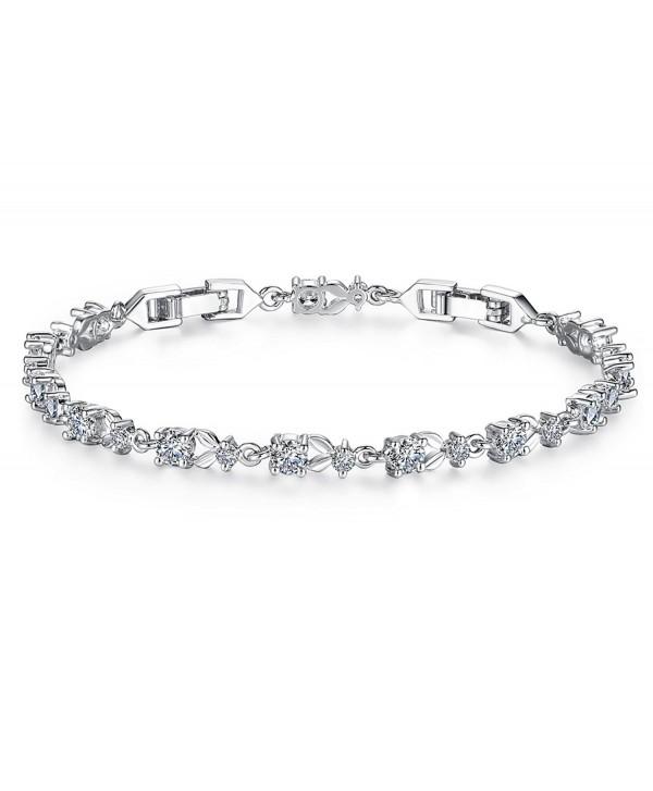 Tennis Bracelet Women Engagement Bridesmaids - white gold plated - C9189HTI5MR