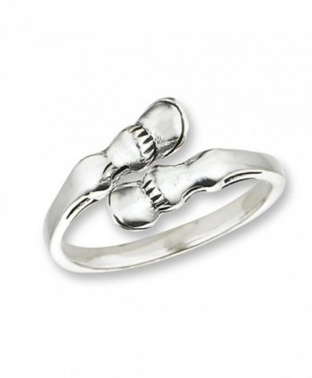 Open Horse Hoof Abstract Pony Animal Ring .925 Sterling Silver Band Sizes 4-10 - CU18205MR4S