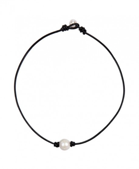 Barch Single Pearl Choker Necklace on Genuine Leather Cord for Women Handmade Choker Jewelry Gift - C712H1NQ21B