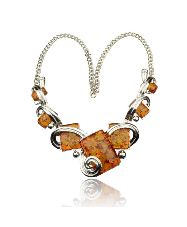 Less like Charm Lady Artifical Amber Choker Ambroid Pendant Chain Bib Statement Necklace - CL11D0T4N8F