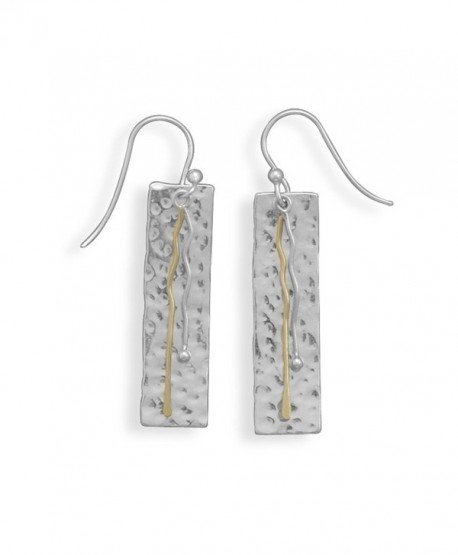 Hammered Rectangle Drop Earrings with Two-Tone Brass and Sterling Silver - CX113B7M0NL