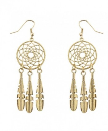 Lux Accessories Boho Gold Tone Casted Dreamcatcher Feather Dangle Earrings - CT12MGSVEMD
