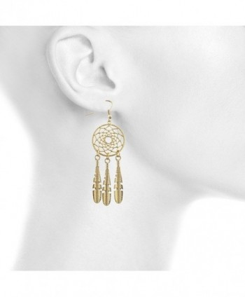 Lux Accessories Dreamcatcher Feather Earrings
