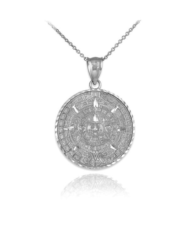 925 Sterling Silver Aztec Charm Mayan Calendar Pendant Necklace - C512BLTM7F1