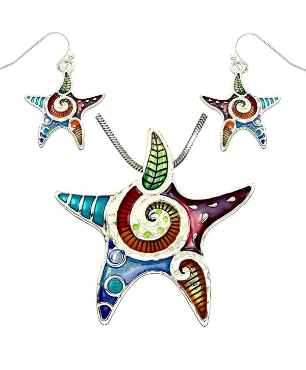 DianaL Boutique Colorful Enameled Starfish - C6110GHKKC7