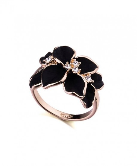 Acefeel Rose Gold Plated AAA Zircon Crystal Luxurious Black Enamel Flower Design Cocktail Ring - CP122DL1347