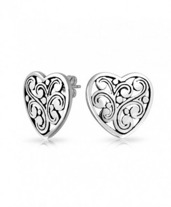 Bling Jewelry Filigree Scroll Heart Stud earrings 925 Sterling Silver 17mm - CW11EMIEATT