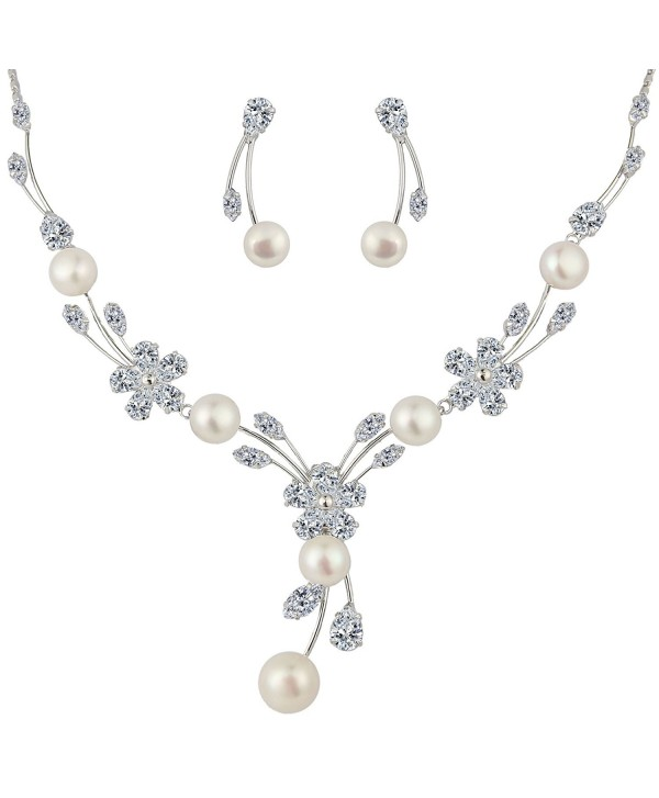 EleQueen Zirconia Simulated Necklace Silver tone - Silver-tone - CI11TC8S0RX