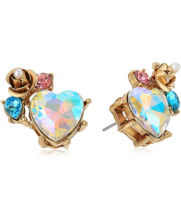 Betsey Johnson Heart and Rose Cluster Stud Earrings - CZ1876D5RA6