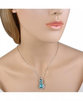 EleQueen Silver tone Teardrop Aquamarine Swarovski in Women's Pendants