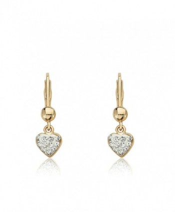 "Molly Glitz ""Heart of Jewels"" 14k Gold-Plated White Enamel and Clear Crystals Heart Dangle Leverback Earrings - CA11D828ALT"