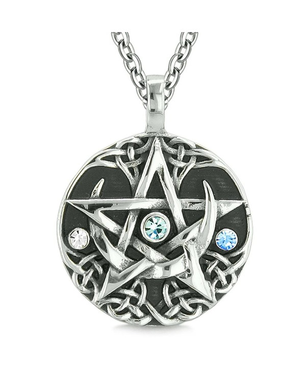 Amulet Pentacle Magic Star Celtic Defense Sky Blue White Crystals Pentagram Pendant 18 Inch Necklace - CT122I1DTI5