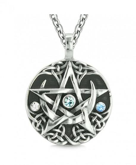 Amulet Pentacle Magic Star Celtic Defense Sky Blue White Crystals Pentagram Pendant 18 Inch Necklace - CT122I1DTI5
