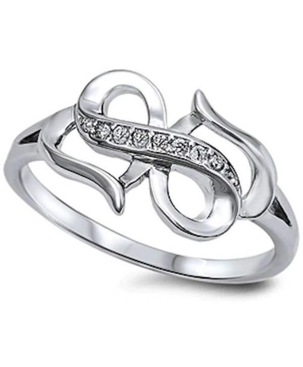 New Style Cubic Zirconia Infinity .925 Sterling Silver Ring Sizes 4-10 - CG11OELK7KB