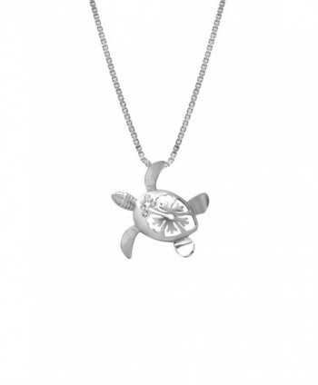 "Sterling Silver Turtle and Hibiscus CZ Necklace Pendant with 18"" Box Chain (15mm) - CE117AR1VIR"