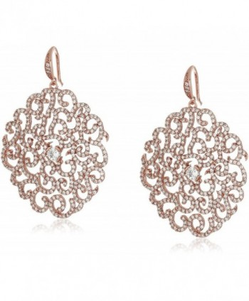 "Carolee ""Floral Lace-Bridal/Prom"" Dramatic Floral Pierced Drop Earrings - Rose Gold - CR129IWZP3J"