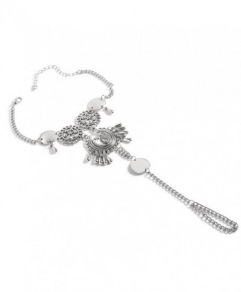 F-U ONLY 1 Pcs Boho Vintage Silver Plated Coin Blessing Symbol Tassel Anklets Foot Jewelry for Women - Silver 3 - CN183A8SK7K