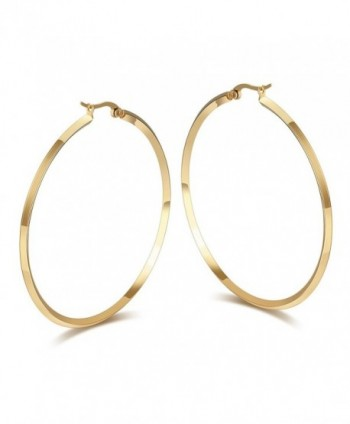 "Fashion Women's Stainless Steel Round Large Size Big Hoop Earring Gold/Silver- 57mm(22.4"") - Gold Plated - CH12O3JDZAM"