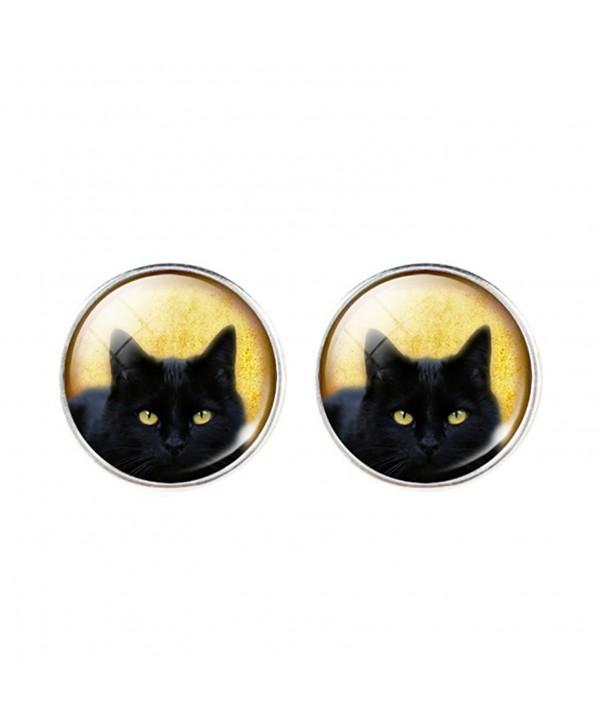 DaisyJewel Halloween I Love Cats Domed Portrait Studs Black Cat Earrings - CJ12CL468AT