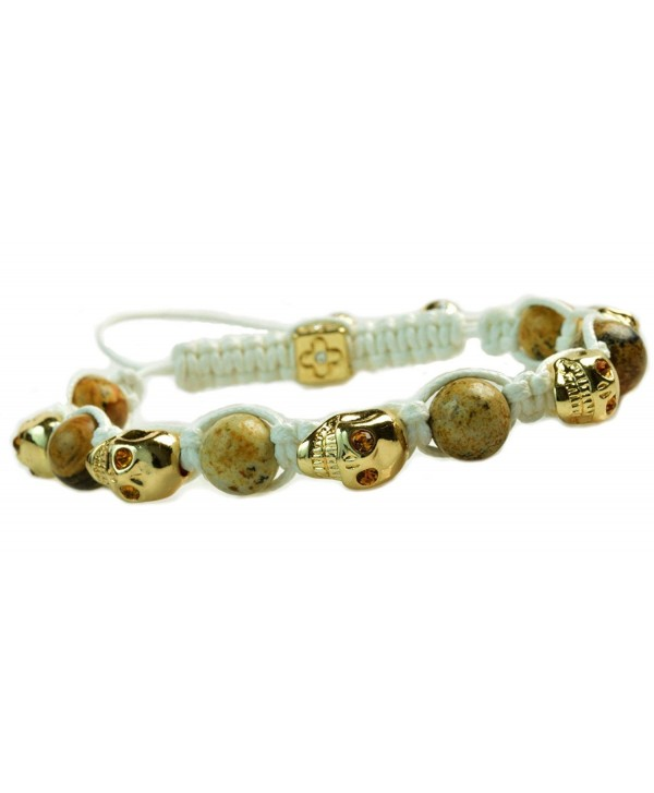Amber Crystal Agate Beaded Shamballa Gold Skull Bracelet White Macrame Cord - C111R151I3H