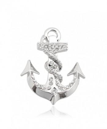 Spinningdaisy Silver Plated Crystal Sea Anchor Brooch - CK11F0E42ZR