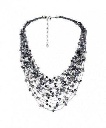 Cultured Freshwater Pearl & Fashion Crystal Silk Layered Multi Strand Necklace - CN1889CSUYX