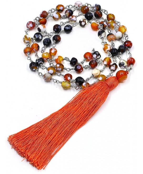 Manjus Taste Long Mala Semi Precious Stone Beads Bohemia Tassel Necklace Jewelry Colorful - CD18550AT6H