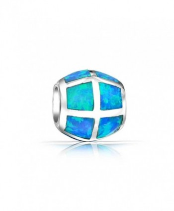 Bling Jewelry Sterling Silver Synthetic Blue Opal Inlay Barrel Bead Charm - C911BC4122Z