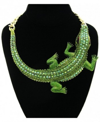 GALHAM - Huge Fashion Green Iced Out Crocodile Pendants Chunky Statement Necklace - CB11HUSHZW3