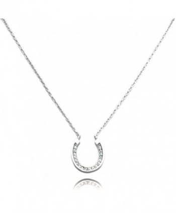 "TIONEER Sterling Silver Small Horseshoe Charm Necklace- 16 Inches (+2"") - Silver - CG11AHPJZTL"