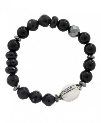 "Silpada 'Blackboard' Sterling Silver and Agate Stretch Bracelet- 6.75"" - CO12N6E7RPV"