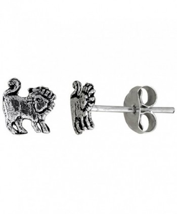 Tiny Sterling Silver Lion Stud Earrings 5/16 inch - CT111B26VN3