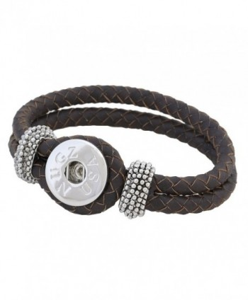 Brown Weave Leather Snap Bracelet - Interchangeable Jewelry from Nugz Jewelry - CK11NCP5SCH
