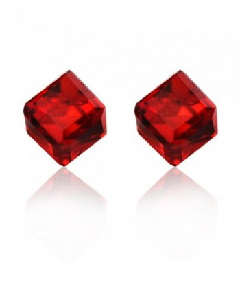 Showfay 6mm 8 Colors Prevent Allergy Plastic Ear Needle Crystal Cube Stud Earrings - red - C912N35YN2T