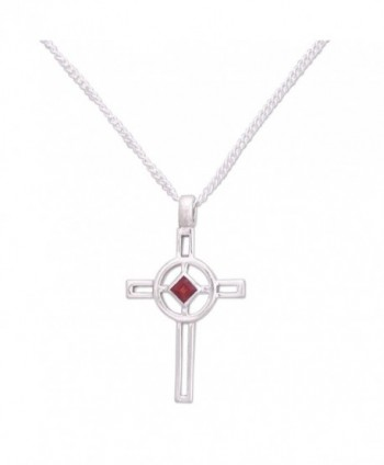 "NOVICA .925 Sterling Silver and Garnet Cross Pendant Necklace- 16.25""- 'Celtic Cross' - C9111GQBBE3"