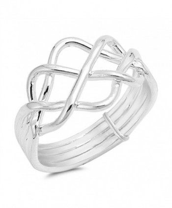 High Polish Bar Knot Puzzle Ring New .925 Sterling Silver Band Sizes 5-13 - CY12ELW824Z
