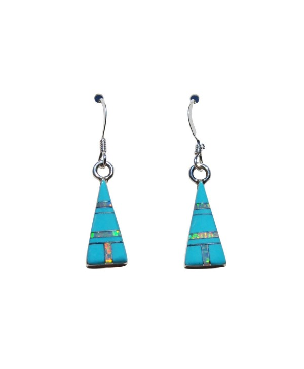 Small Pyramid Shape Handcrafted St. Silver Inlaid Stabilized Turquoise Created Opal Stone Earrings - C112D8M0M8D