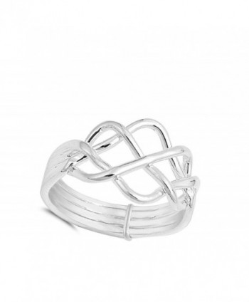 High Polish Puzzle Sterling Silver in Women's Band Rings