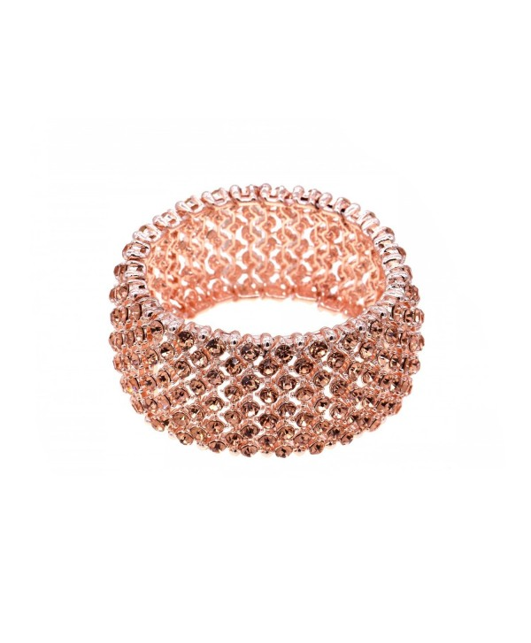 Tennis Rhinestone Stretch Bracelets Bridal Evening Party Bling Jewelry For Woman Bangle - Rose Gold - CU188YOTDOI