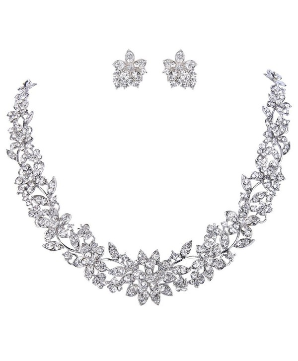 EVER FAITH Wedding Cluster Flower Leaf Necklace Earrings Set Clear Austrian Crystal Silver-Tone - C611N5X5UA5