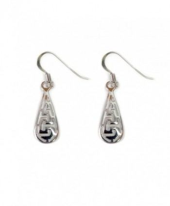 Sterling Silver Ancient Greek Key Drop Earrings - CQ119CNIOS3