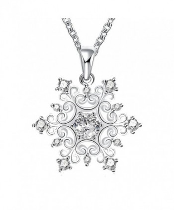 Happy Gogou Snowflake Silver Color Pendant Necklaces Setting with Cubic Zirconia - CJ12DOUSS3P
