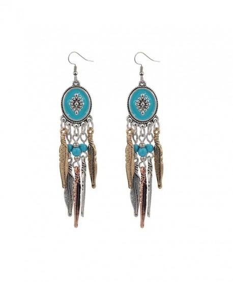 Idealway Bohemian Vintage Leaf Bead Tassel Dangle Earrings for Women - CR122RZGALT