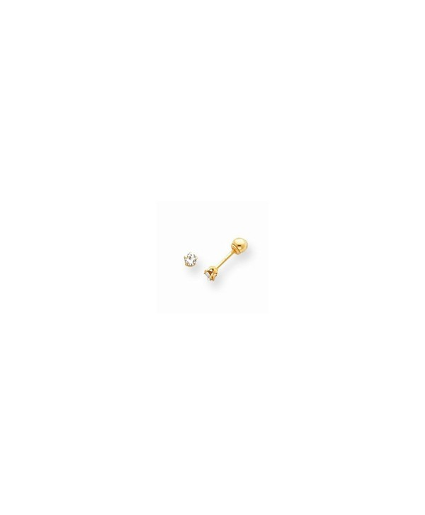 14k Gold Polished Reversible CZ & 3mm Ball Earrings (0.12 in x 0.12 in) - C211396YW0X