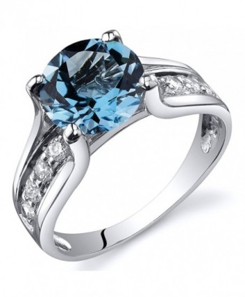 Swiss Blue Topaz Solitaire Style Ring Sterling Silver Rhodium Nickel Finish 2.25 Carats Sizes 5 to 9 - CV116Z3IKSR