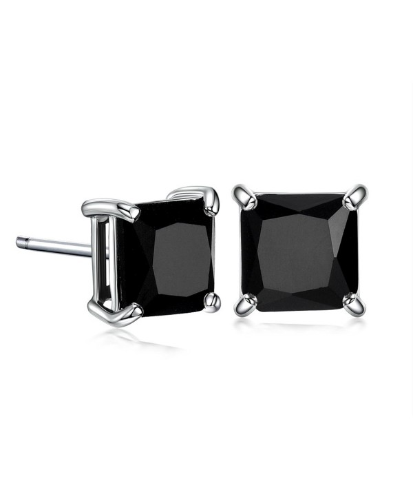 GULICX Silver Tone 7mm Square CZ Party Pierced Earrings Studs Purple Unisex - Black - CK11XXEZFNT